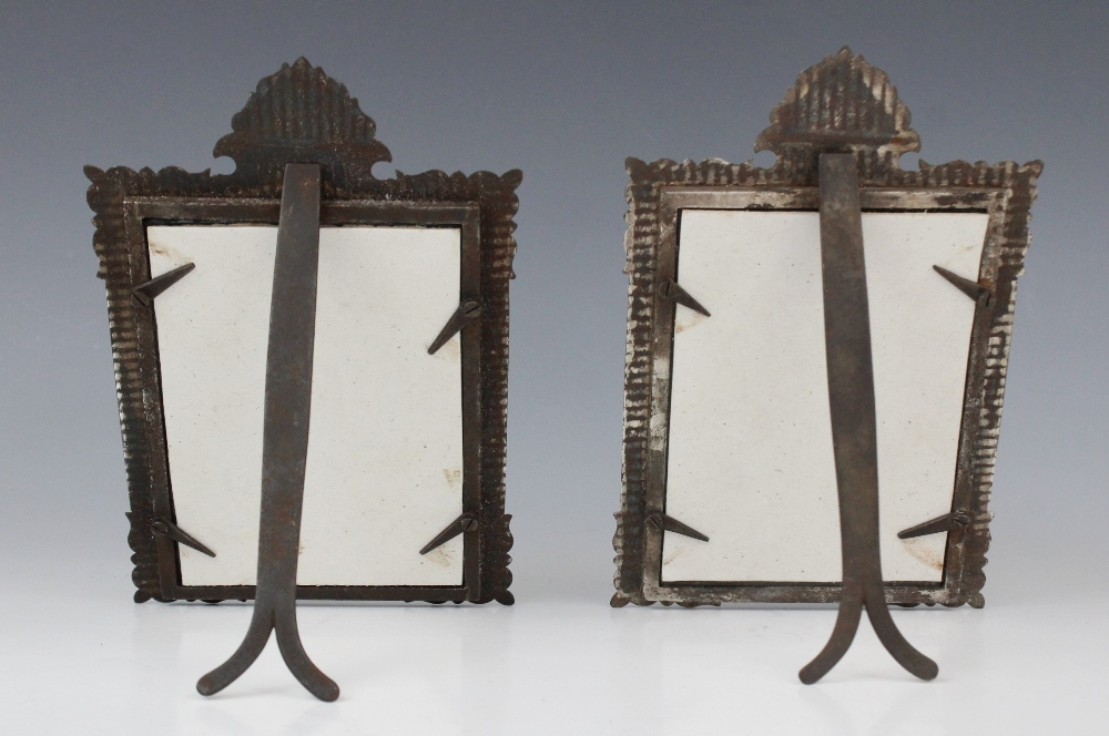 A pair of Islamic style niello gilt and white metal inlaid crested frames, extensively decorated - Image 2 of 2