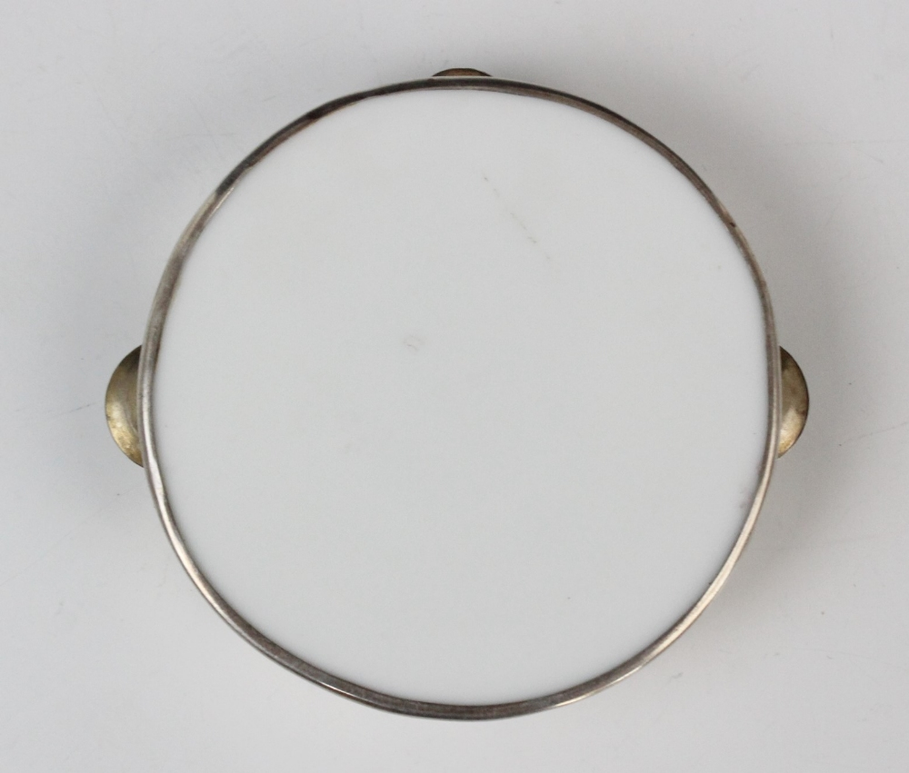 An Edwardian novelty miniature tambourine by William Hair Haseler, Birmingham 1907, of circular form - Image 2 of 3