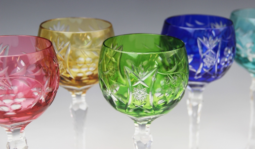 A set of six hock glasses, 20th century, each flashed with different coloured glass and cut with - Image 3 of 4