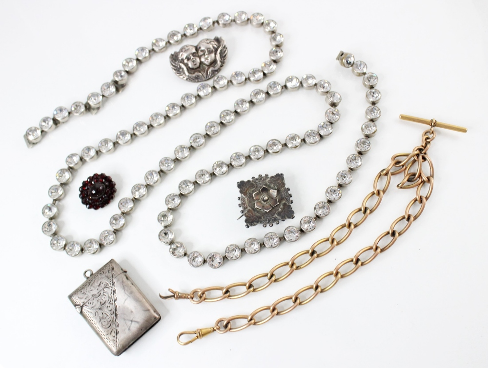 A selection of Victorian and later jewellery, to include a garnet cluster brooch, 23mm x 20mm, an