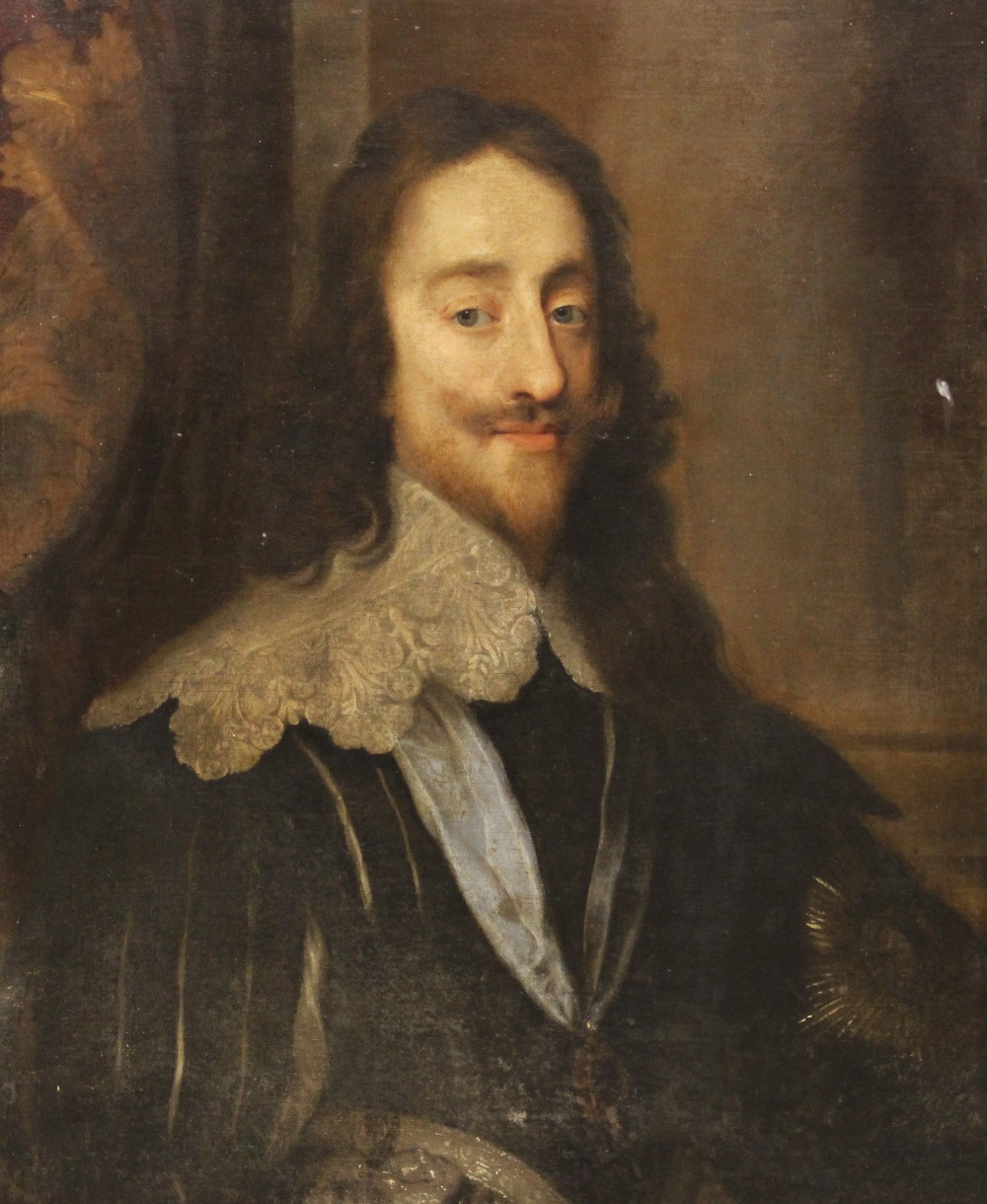 Follower of Sir Antony Van Dyck (1599-1641), Portrait of Charles I, Head and shoulders, with lace