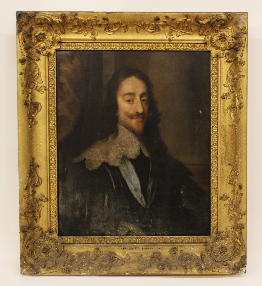 Follower of Sir Antony Van Dyck (1599-1641), Portrait of Charles I, Head and shoulders, with lace - Image 8 of 22