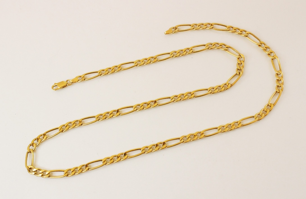 A figaro link chain, 9ct gold common control marks to lobster claw and loop links, 60.5cm long,