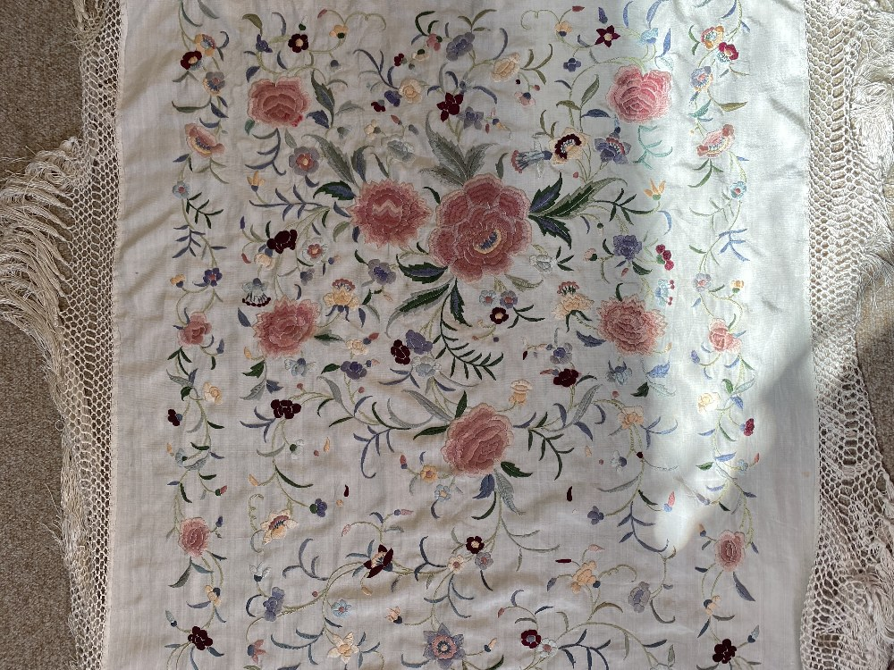 A Chinese polychrome florally decorated machine embroidered silk piano shawl, against a cream - Image 14 of 14