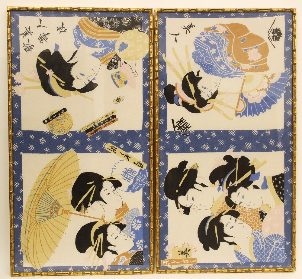 A Liberty of London silk scarf, 20th century, decorated with Japanese woodblock style prints of