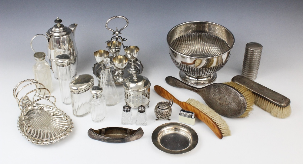 A selection of silver, silver plated and EPNS wares, to include; a George V silver Punch rattle,