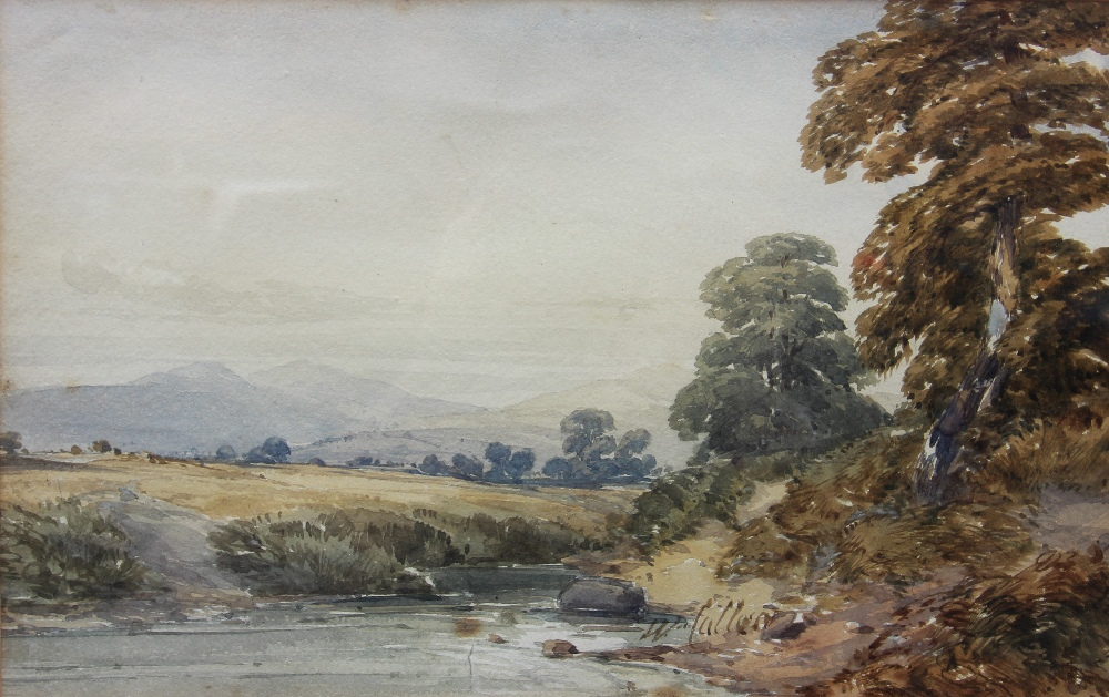 William Callow RWS (1812-1908), View of a rural stream with hills beyond, Watercolour, Signed