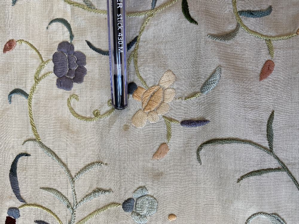 A Chinese polychrome florally decorated machine embroidered silk piano shawl, against a cream - Image 8 of 14