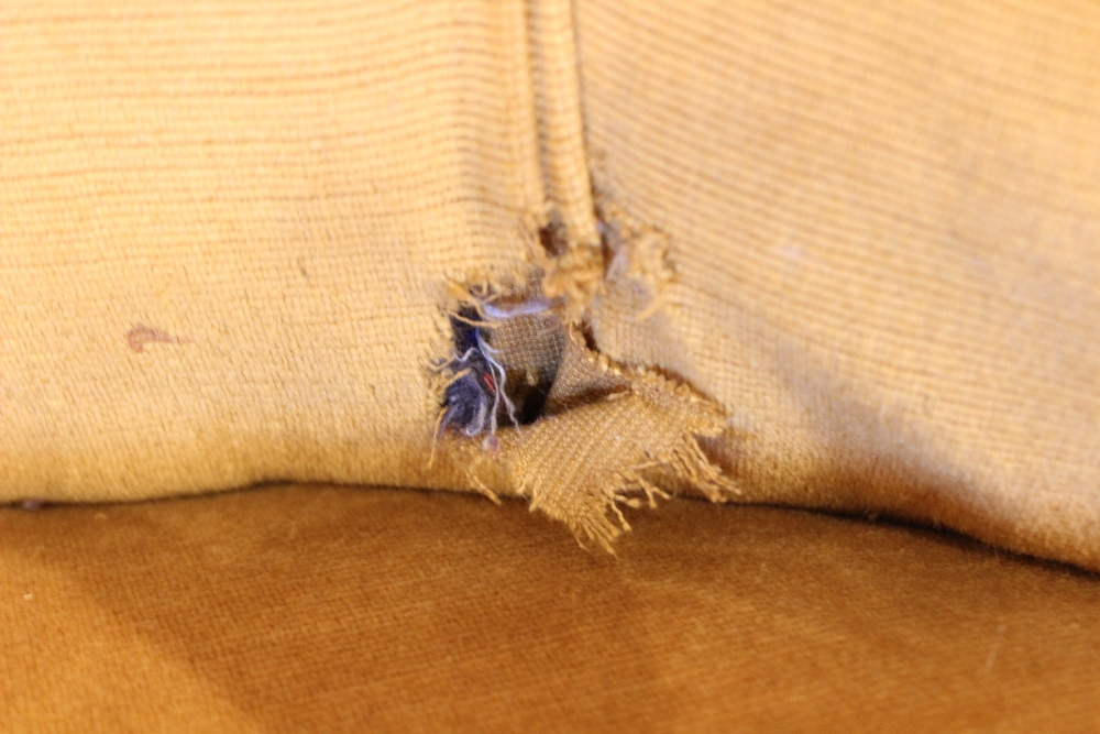 An early 20th century button back love seat, upholstered in yellow velour, the wrap around high back - Image 3 of 3