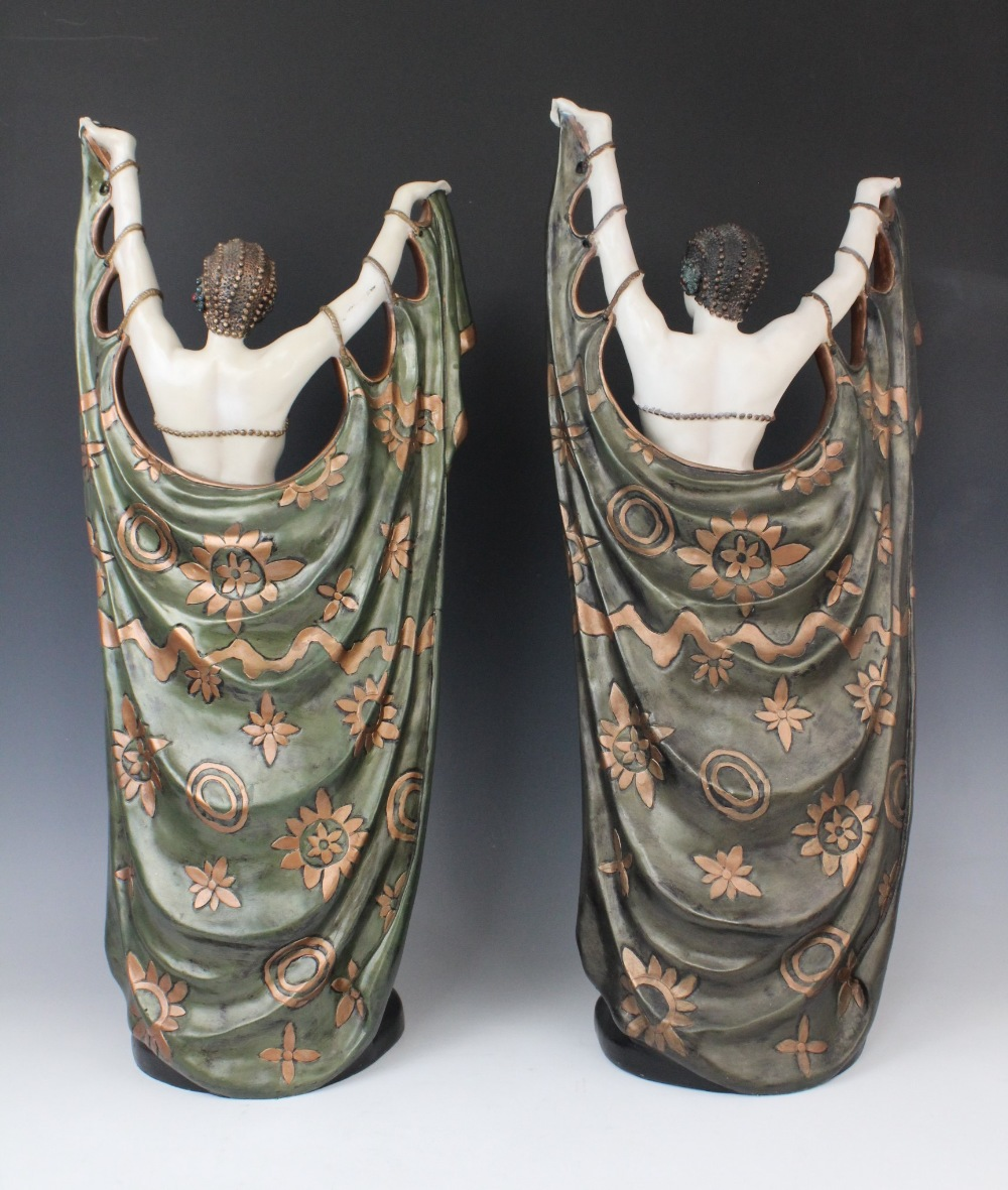 A pair of composite Art Deco style faux chryselephantine figures, late 20th century, modelled in the - Image 2 of 4