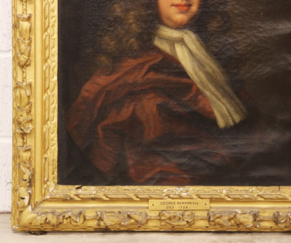 Circle of Michael Dahl (1659-1743), Portrait of George Kenyon half length wearing a red cloak and - Image 3 of 6