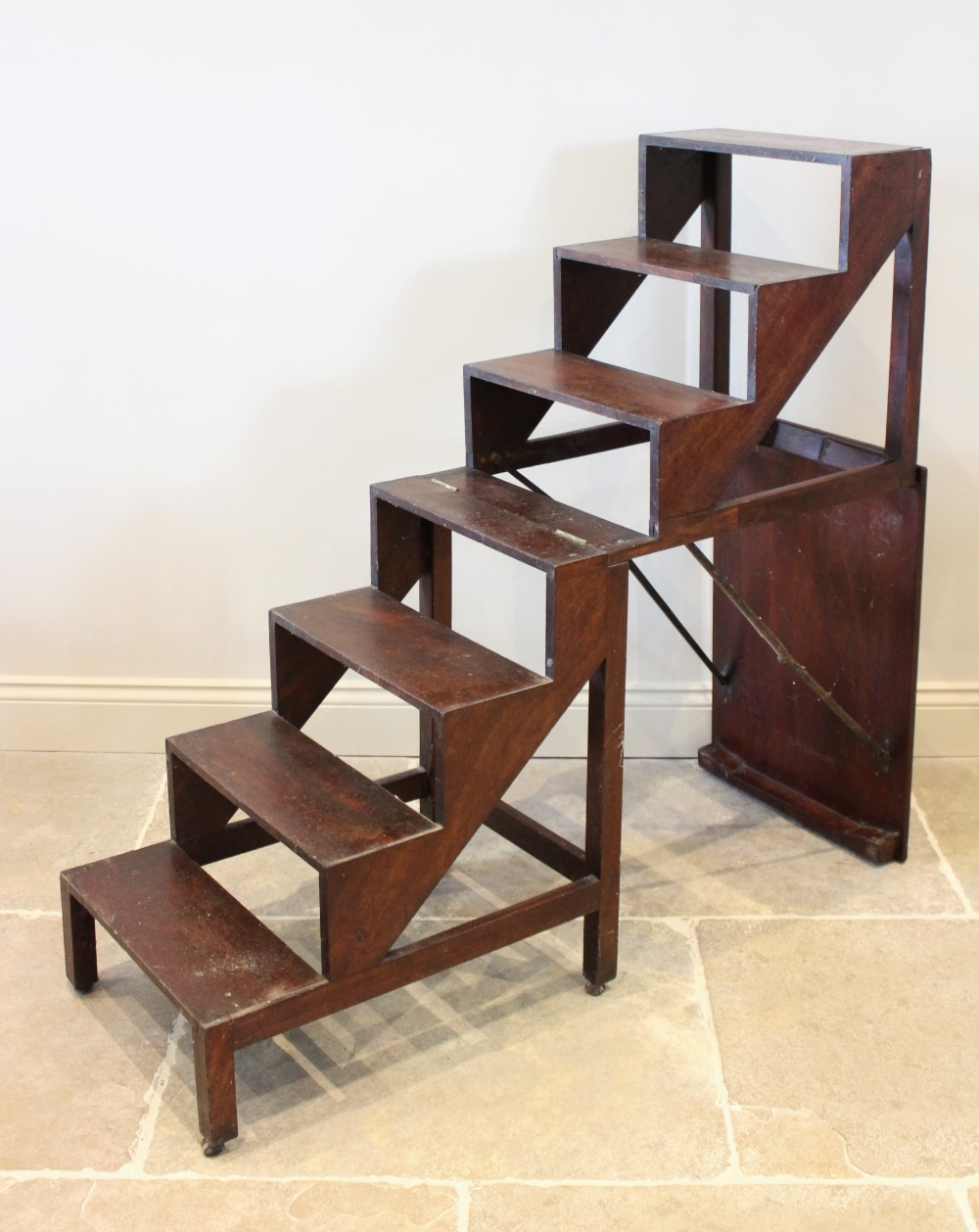 A 19th century mahogany metamorphic table/library steps, the rectangular moulded top on plain legs - Image 2 of 3