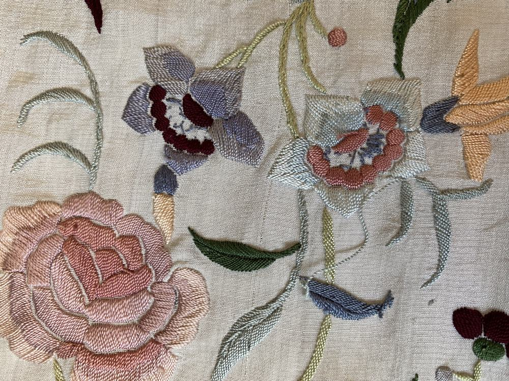 A Chinese polychrome florally decorated machine embroidered silk piano shawl, against a cream - Image 10 of 14