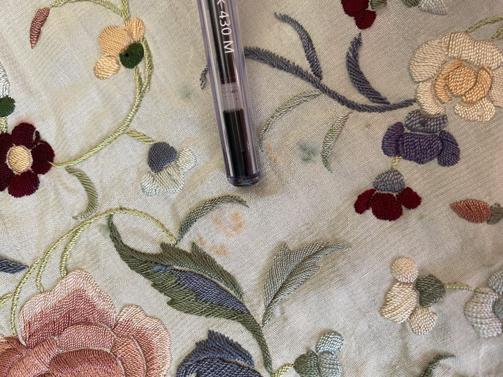 A Chinese polychrome florally decorated machine embroidered silk piano shawl, against a cream - Image 3 of 14