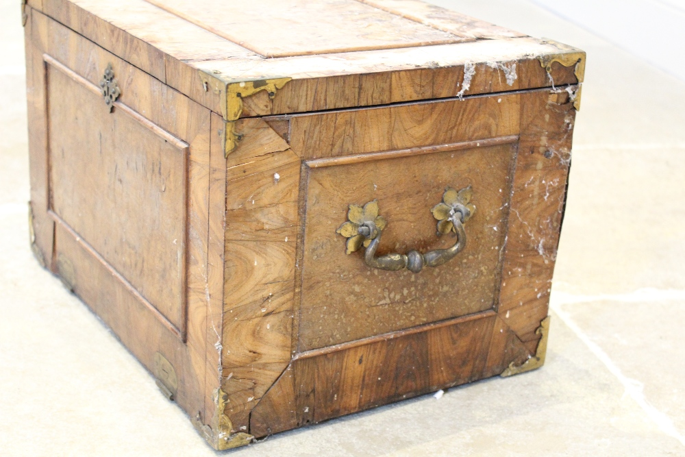 A late 17th century French kingwood strong box, applied with gilt metal corner mounts and side swing - Image 3 of 7