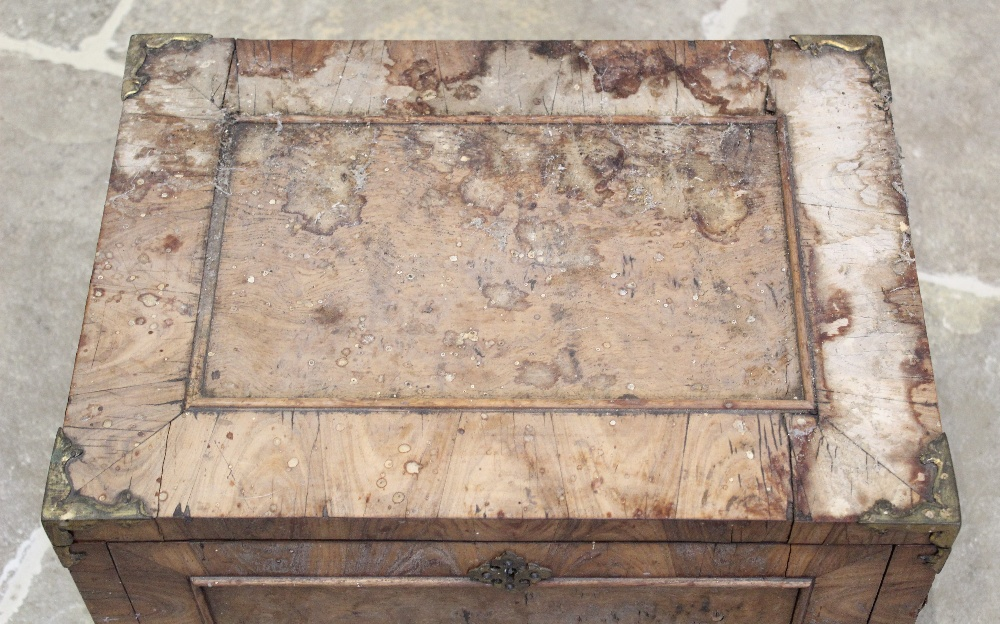 A late 17th century French kingwood strong box, applied with gilt metal corner mounts and side swing - Image 2 of 7