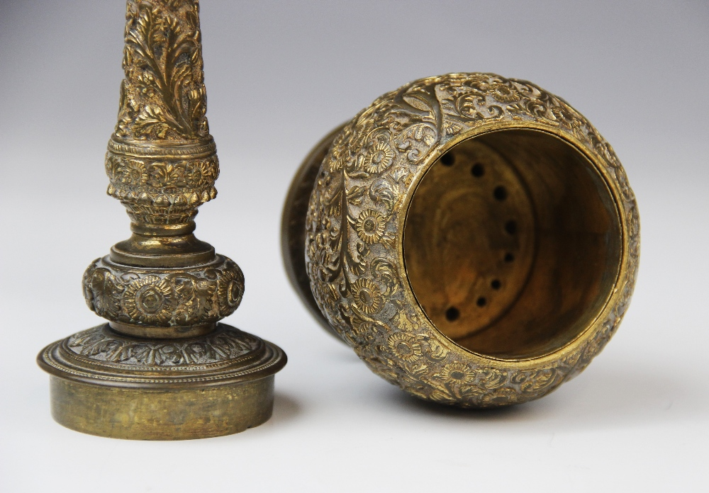 An Indian brass incense burner or censer, probably early or mid 20th century, of globe and - Image 4 of 4