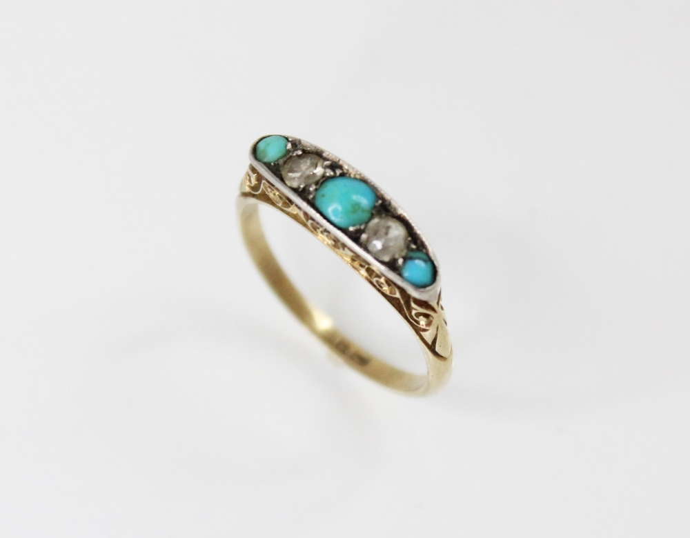 An early 20th century turquoise and diamond five stone ring, comprising three round turquoise - Image 3 of 5