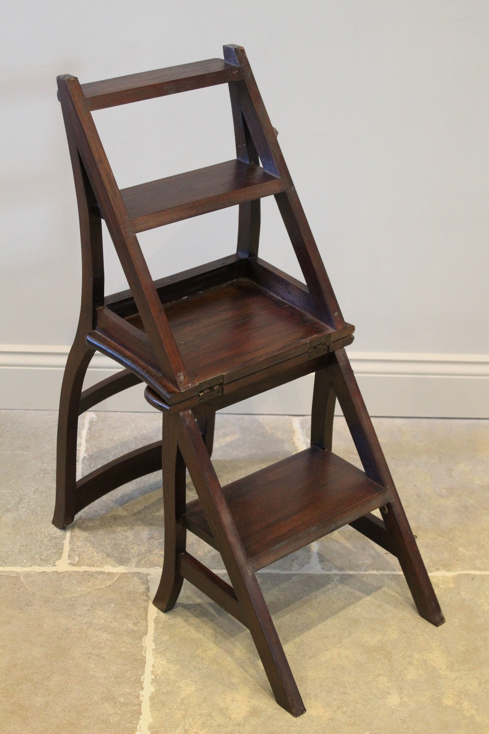 A set of mahogany metamorphic library steps, late 20th century, the chair with a twin rail back - Image 2 of 2