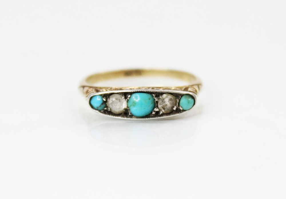 An early 20th century turquoise and diamond five stone ring, comprising three round turquoise - Image 5 of 5