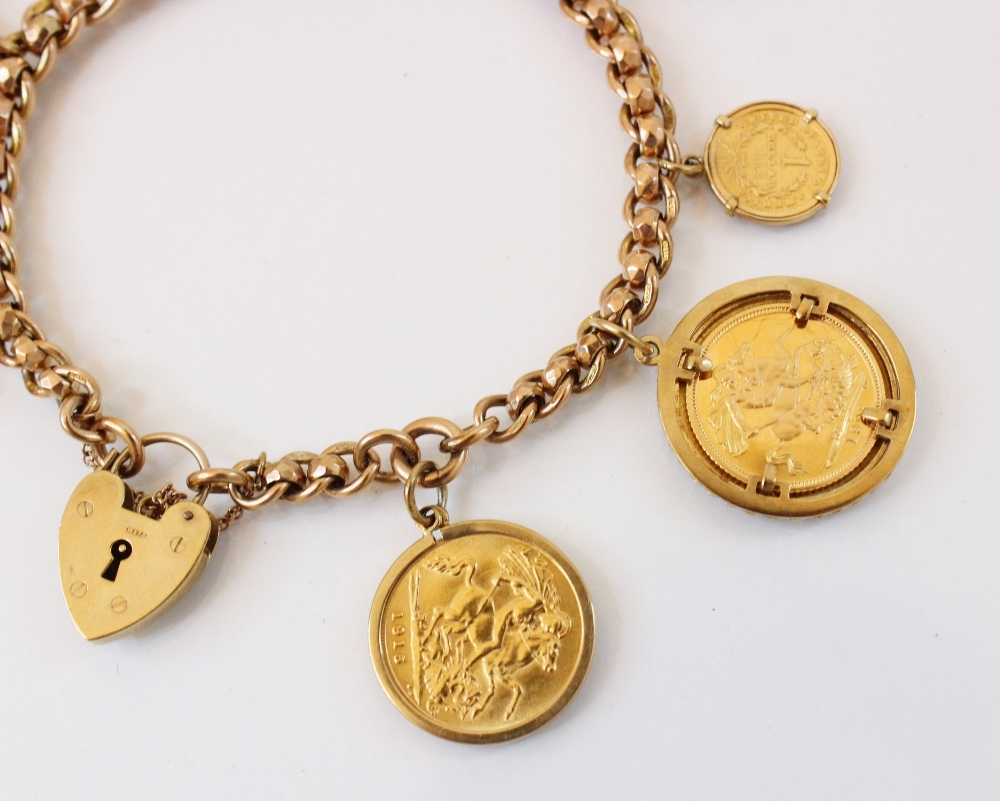 A 9ct gold curb link charm bracelet with a heart-shaped padlock fastener, 20cm long, suspending an - Image 3 of 20