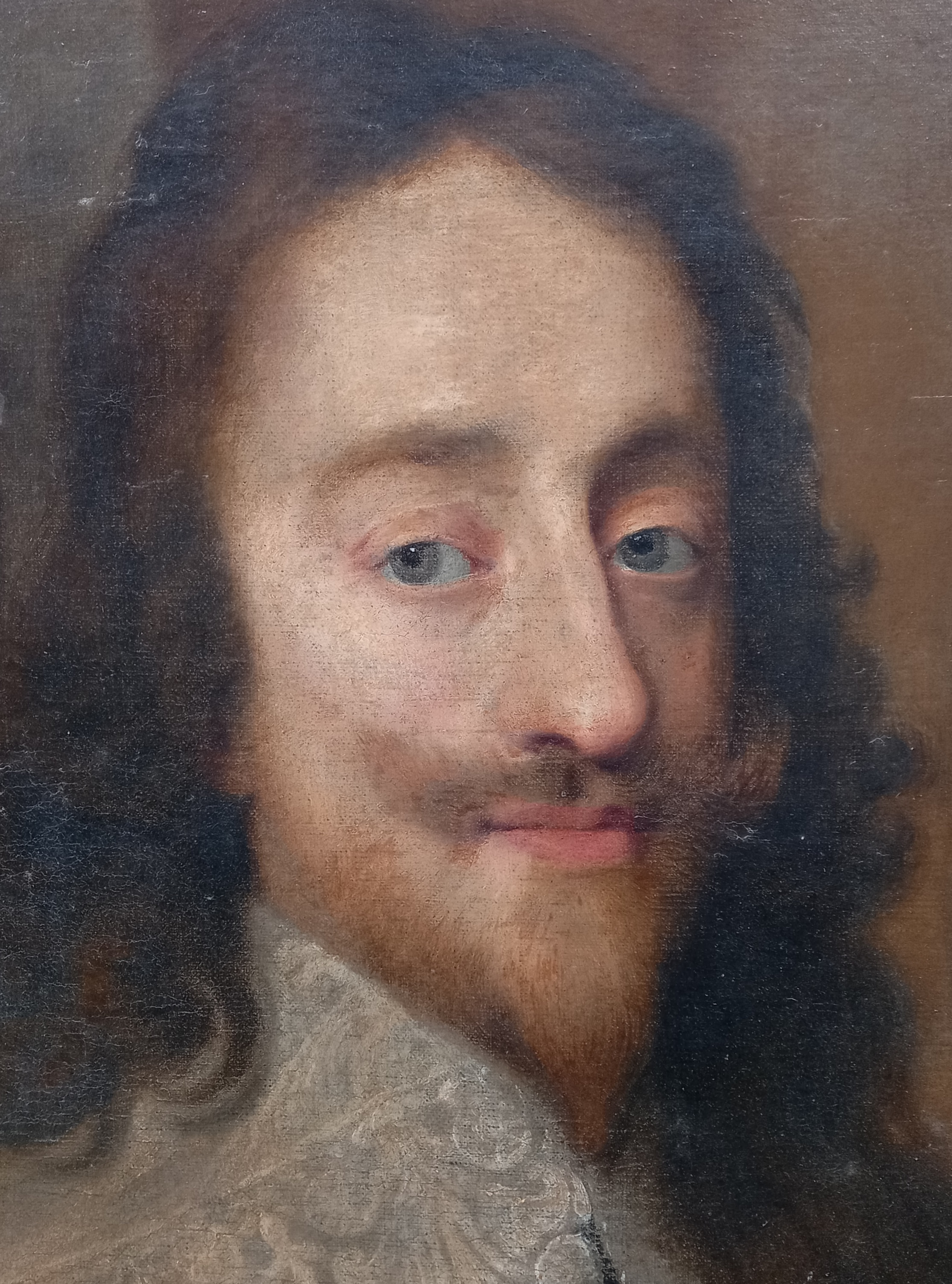 Follower of Sir Antony Van Dyck (1599-1641), Portrait of Charles I, Head and shoulders, with lace - Image 10 of 22