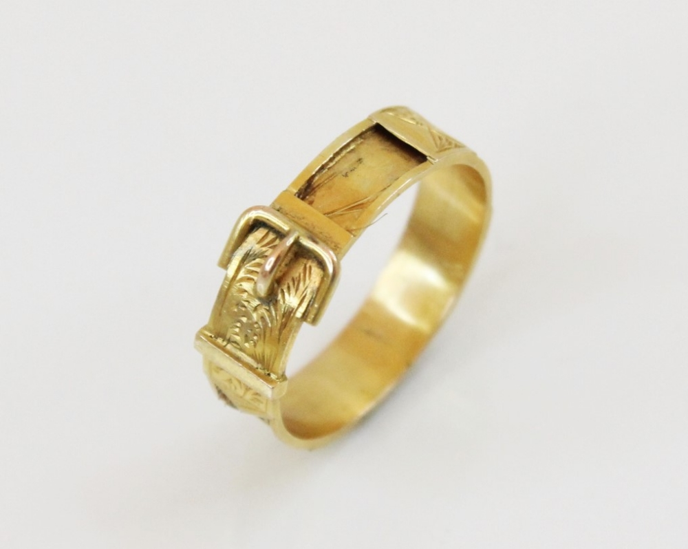 A 19th century yellow metal memorial buckle ring, with engraved decoration, vacant hair panel shank, - Image 2 of 4