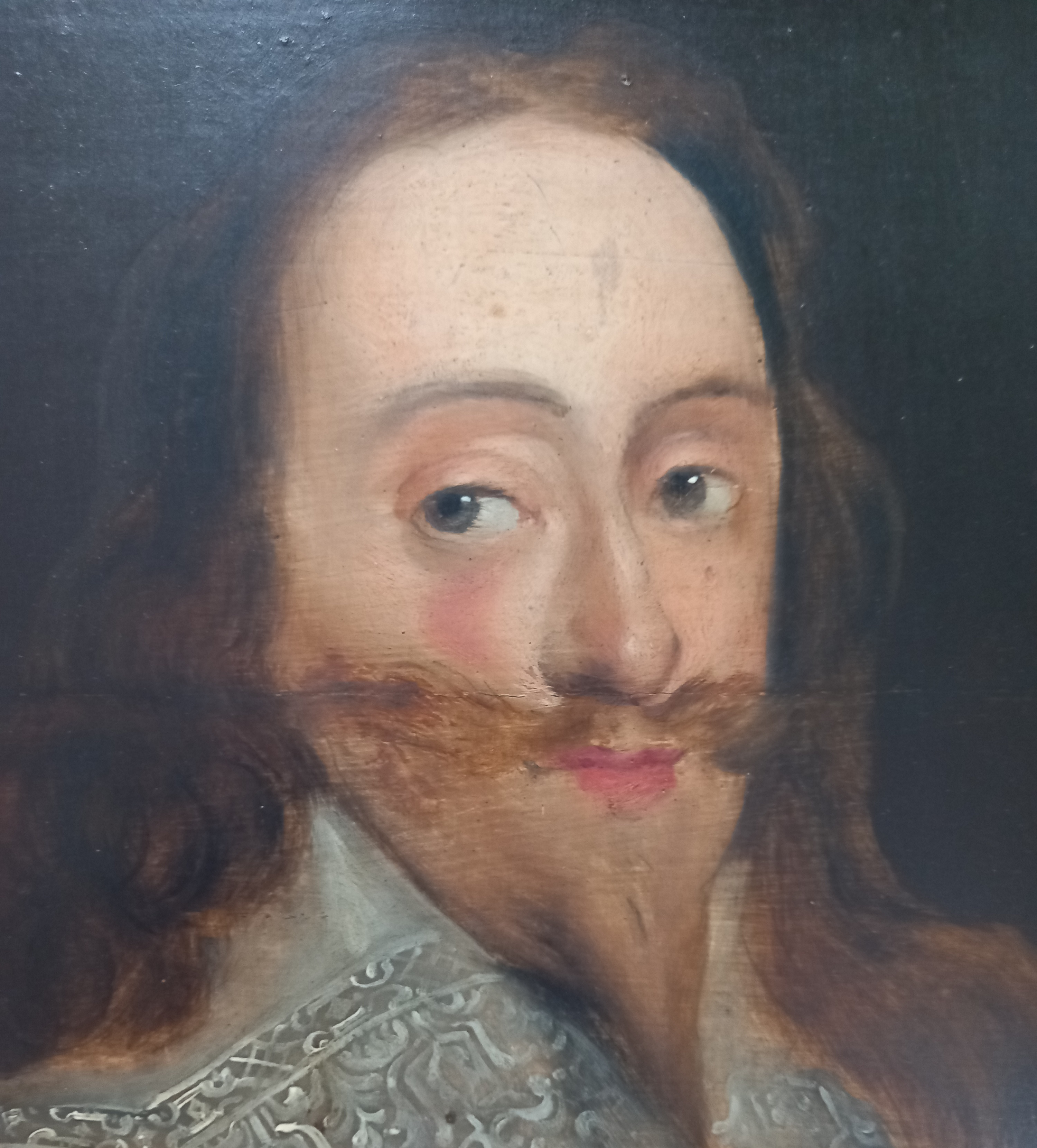 Manner of Daniel Mytens (1590-1647), Portrait of Charles I Head and shoulders wearing a lace - Image 3 of 10