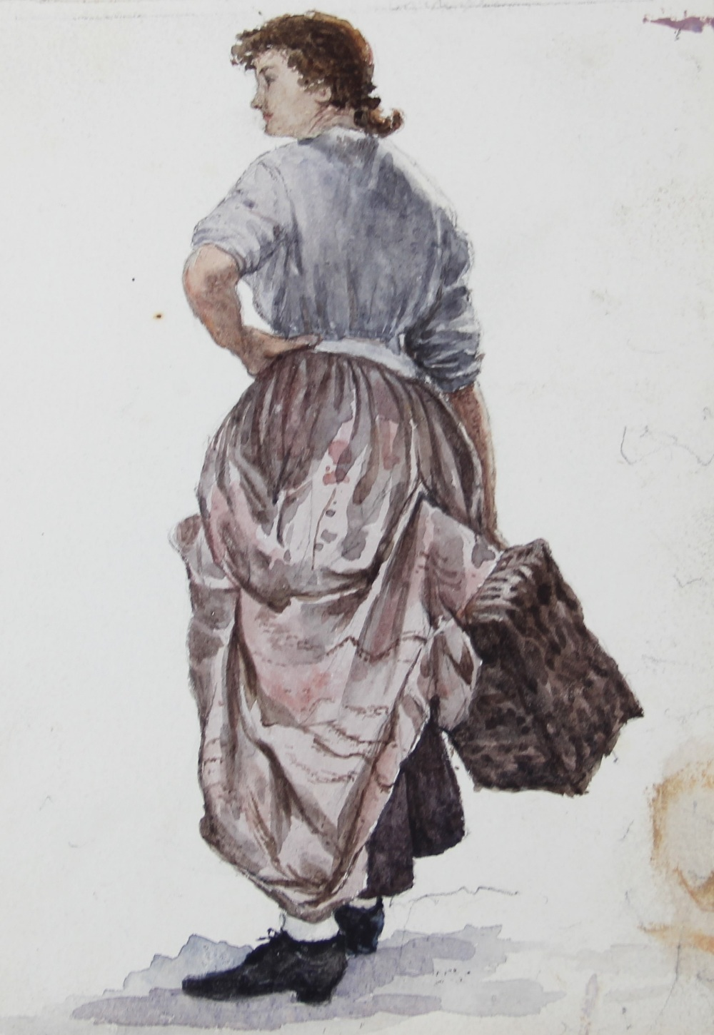 A collection of watercolours, pen and ink sketches and pencil sketches, early 20th century, loose, - Image 8 of 10