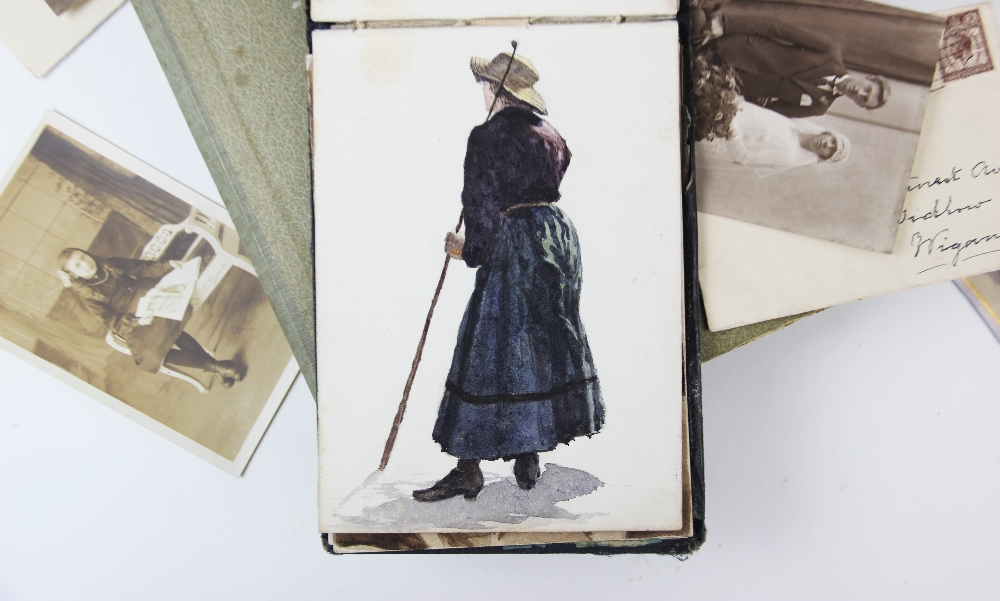 A collection of watercolours, pen and ink sketches and pencil sketches, early 20th century, loose, - Image 10 of 10