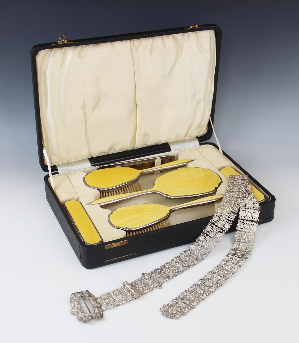An Art Deco silver mounted and enamelled dressing table set by Beddoes & Co, Birmingham 1935-36,