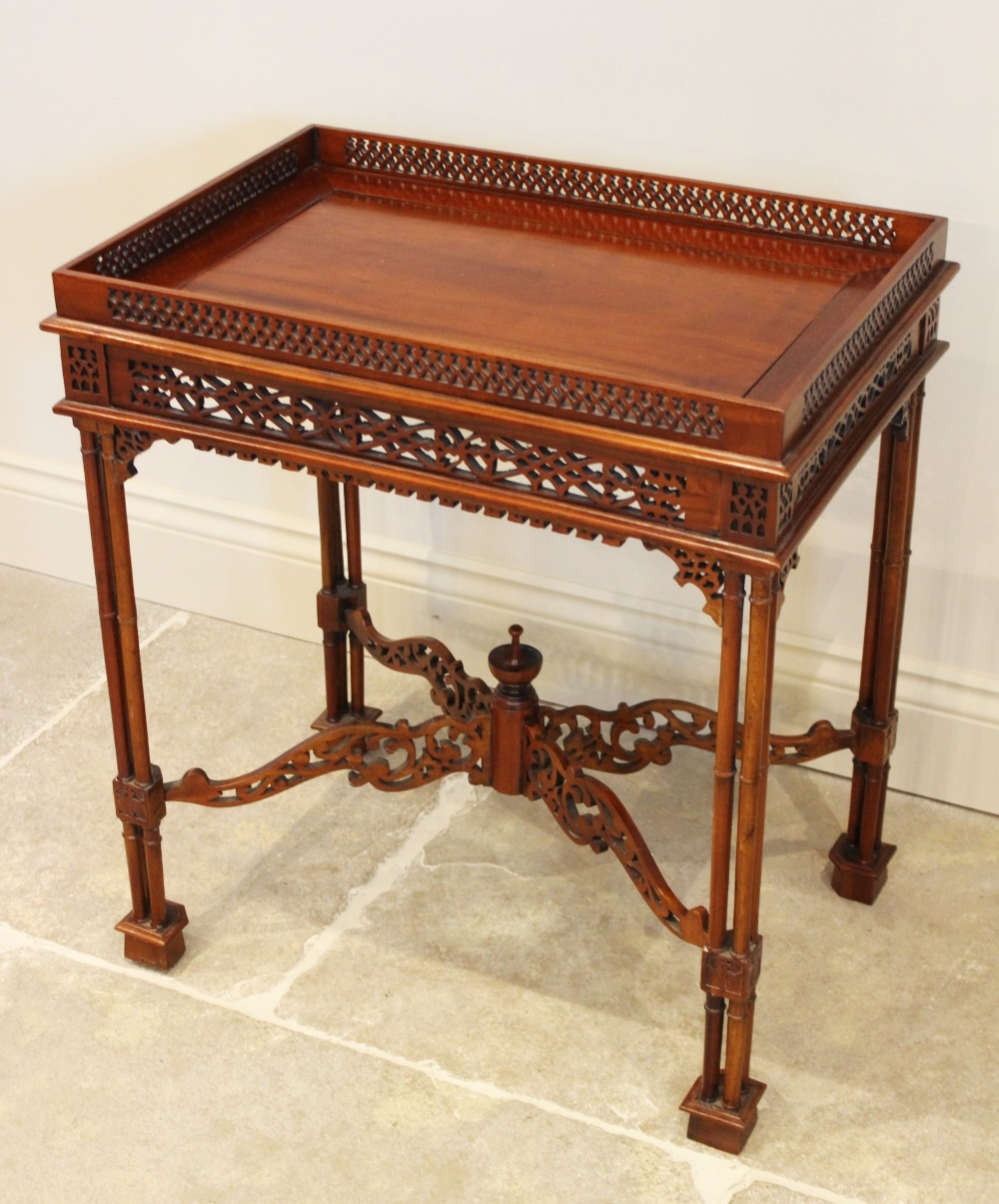A Chinese Chippendale style mahogany silver table, late 20th century, the rectangular top with a - Image 2 of 2
