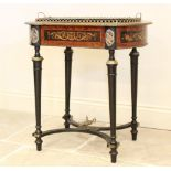 A French Louis XVI style jardinière planter, 19th century, with thuya wood panels and overall