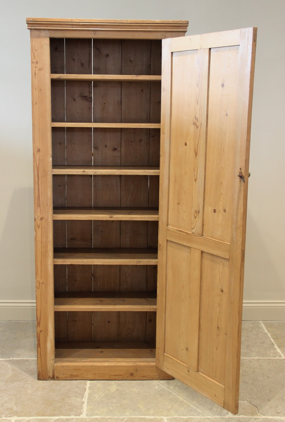 A Victorian pine kitchen cupboard, the single quatre panelled door opening to six fixed shelves, - Image 2 of 2