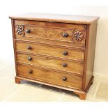 A mid 19th century mahogany secretaire chest of drawers, the fall front top drawer applied with
