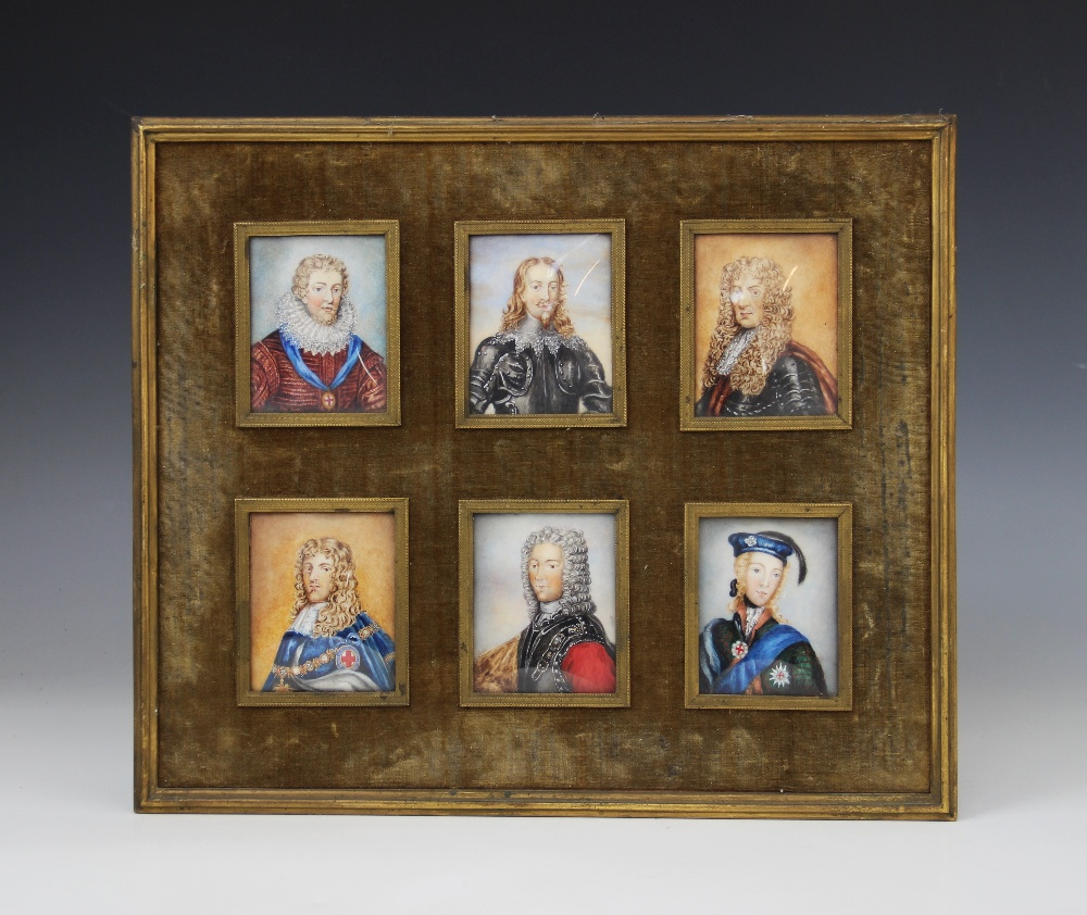 English School (19th century), a set of six portrait miniatures on ivory, depicting the male line of