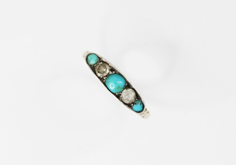 An early 20th century turquoise and diamond five stone ring, comprising three round turquoise - Image 2 of 5
