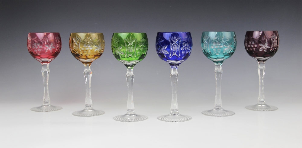 A set of six hock glasses, 20th century, each flashed with different coloured glass and cut with - Image 2 of 4
