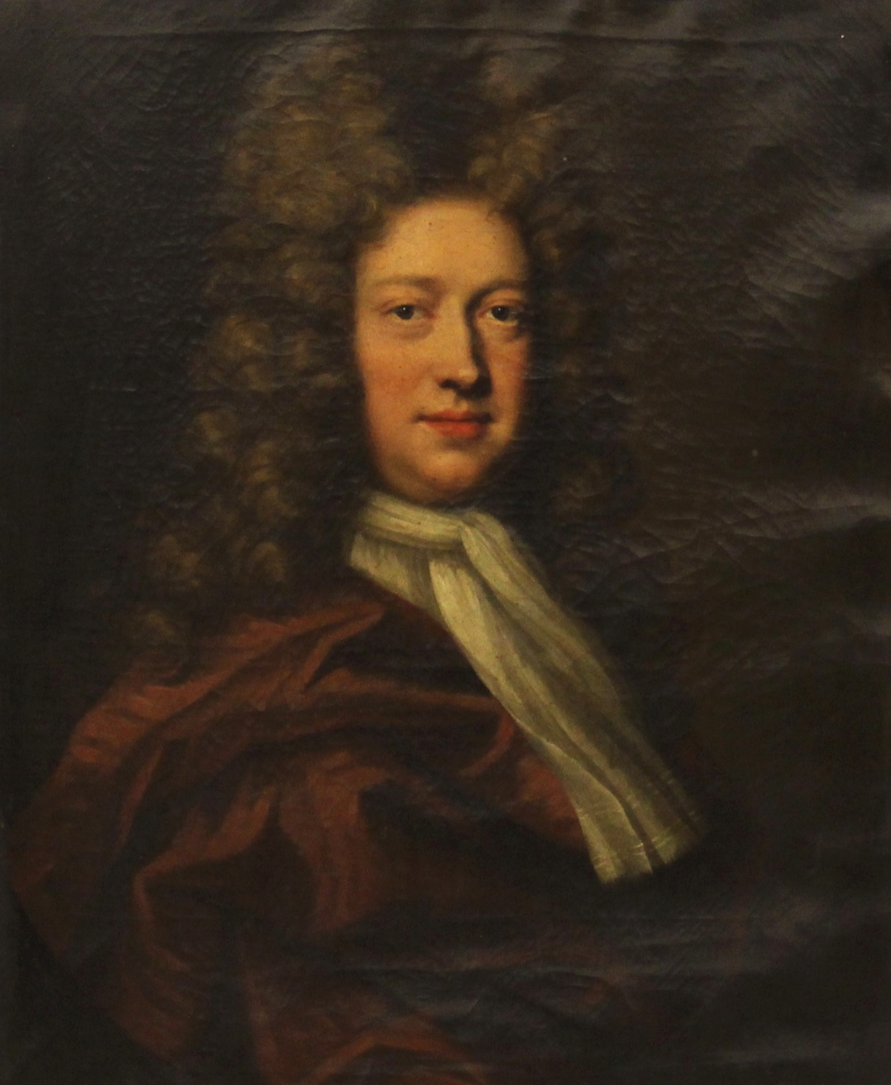 Circle of Michael Dahl (1659-1743), Portrait of George Kenyon half length wearing a red cloak and