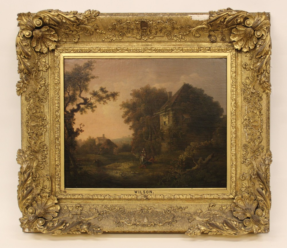 Manner of Richard Wilson RA (1714-1782), Wooded rural landscape with figures beside a cottage, Oil - Image 6 of 6