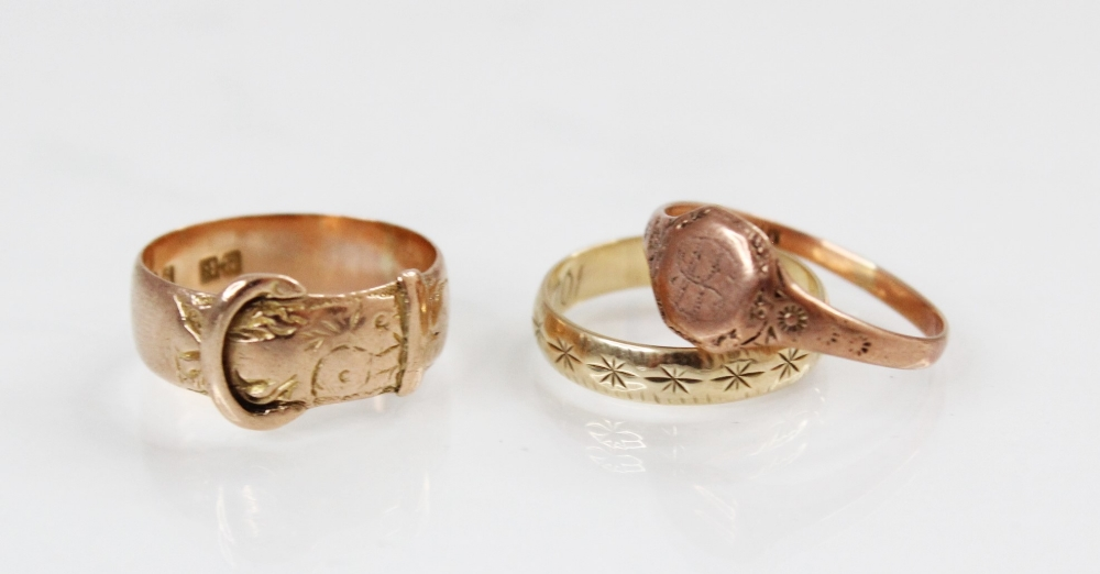 A 9ct gold buckle ring, marks for Birmingham 1918, ring size M, together with a 9ct gold signet - Image 2 of 2
