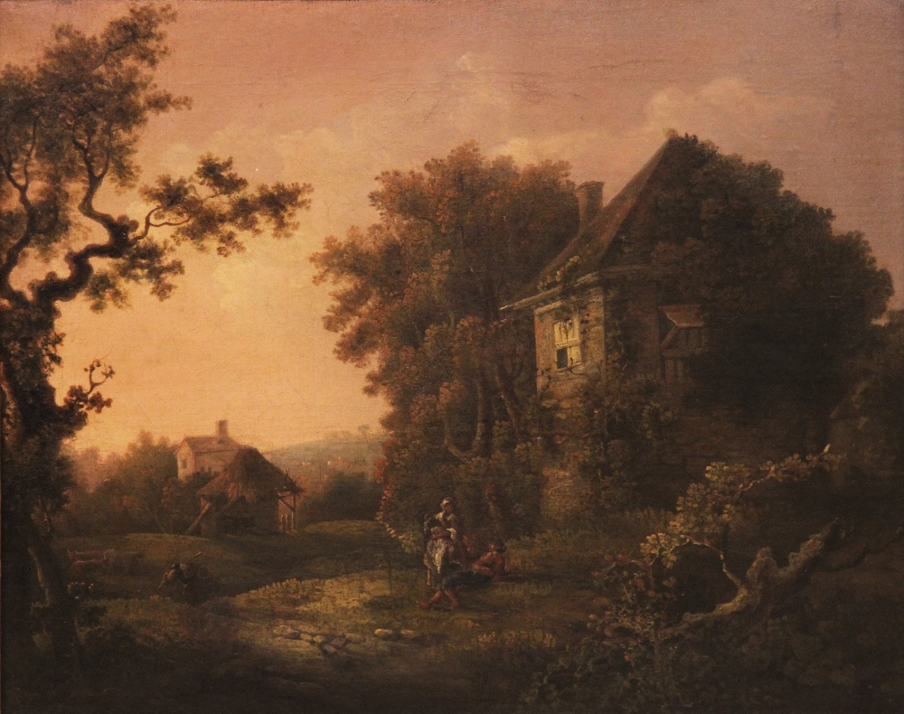 Manner of Richard Wilson RA (1714-1782), Wooded rural landscape with figures beside a cottage, Oil - Image 2 of 6