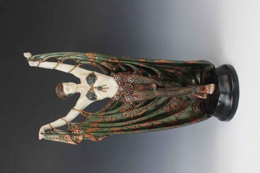 A pair of composite Art Deco style faux chryselephantine figures, late 20th century, modelled in the - Image 3 of 4