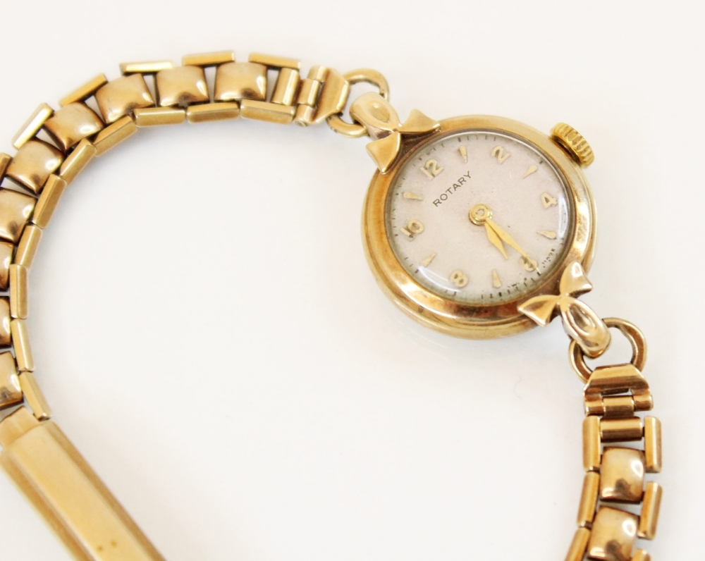 A lady's vintage 9ct gold Rotary wristwatch, the round cream dial with Arabic and baton markers, set - Image 2 of 2