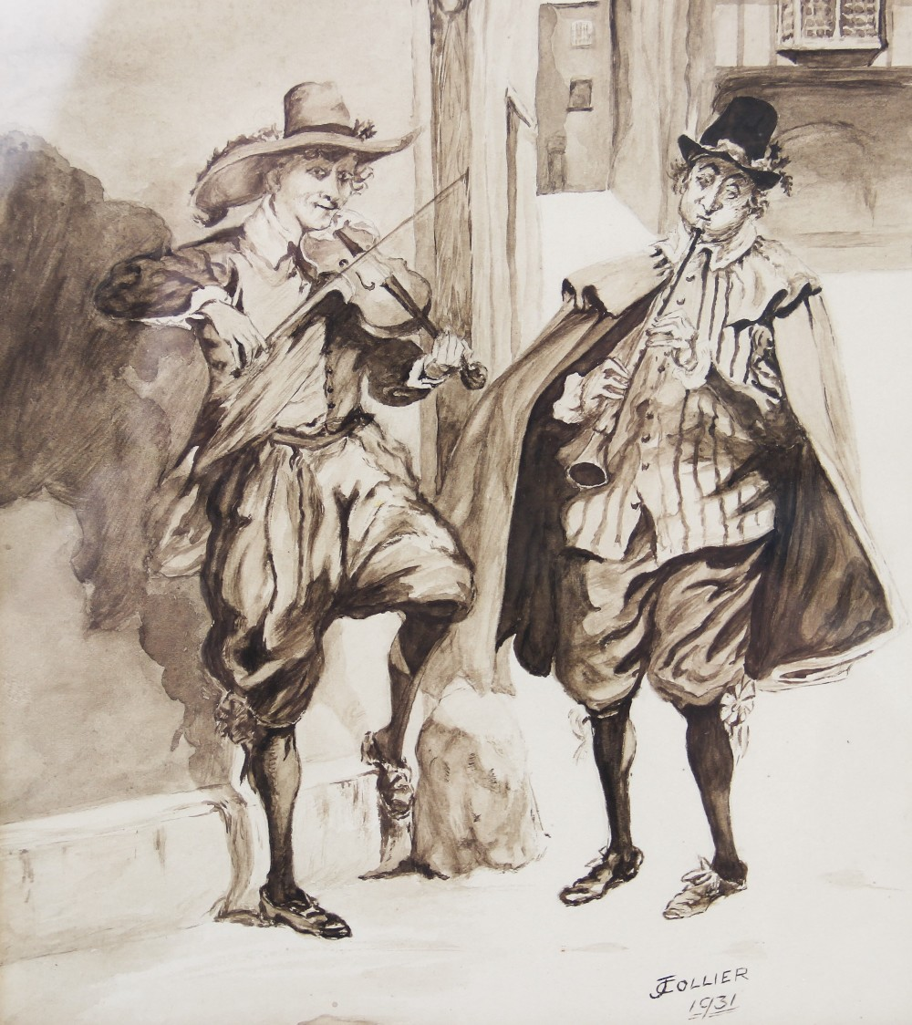 A collection of watercolours, pen and ink sketches and pencil sketches, early 20th century, loose, - Image 3 of 10