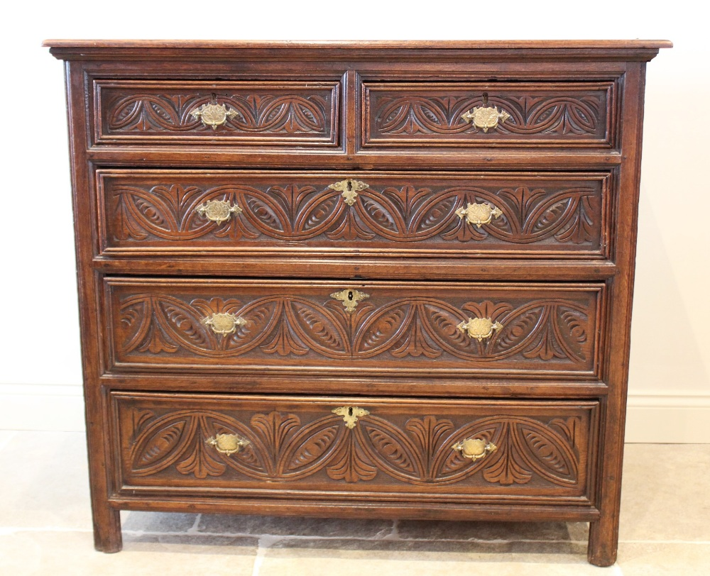 A 17th century and later oak chest of drawers, the twin plank top over an arrangement of two short - Image 2 of 4