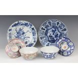 A selection of Chinese porcelain, 18th century and later, comprising; a Kangxi Kraak plate, 21.5cm