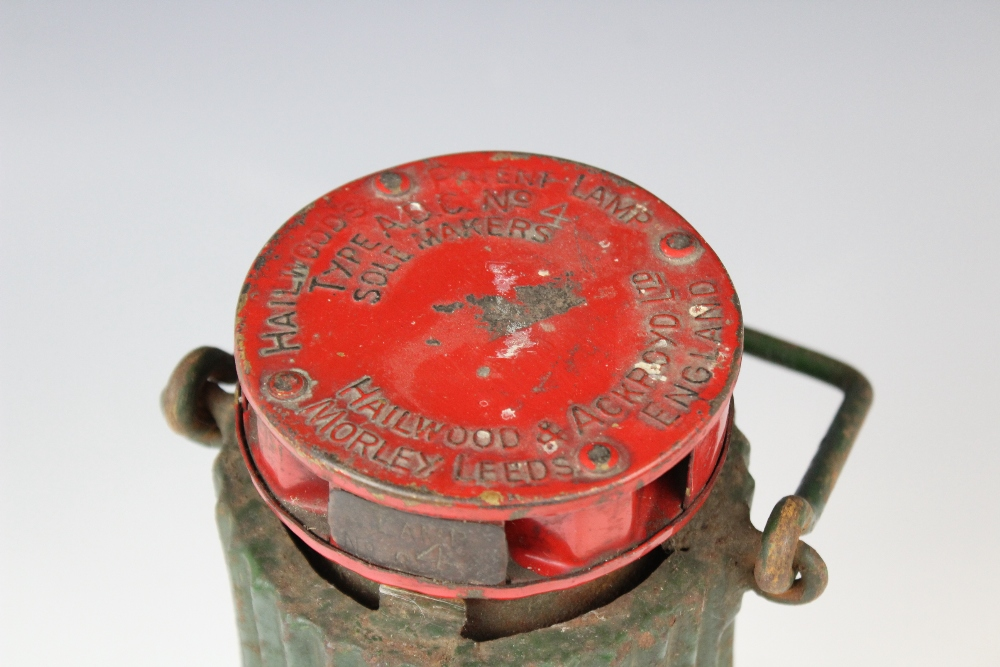 A vintage Hailwood's Patent miner's lamp 'Type ADC No 4', 20th century, red and green painted with - Image 2 of 2