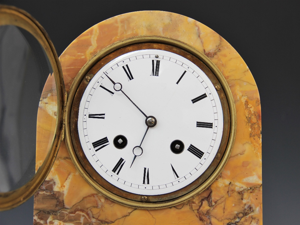 A late 19th century crema Valencia marble mantel clock, the domed case housing the 11cm white - Image 3 of 6