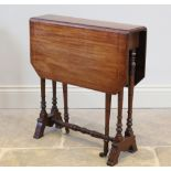 An Edwardian mahogany Sutherland table, the rectangular drop leaf top with inlaid stringing and